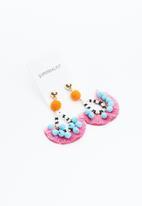 Superbalist - Half moon tassel and pom pom earrings - multi
