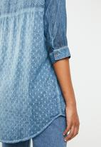 G Couture - Multi fabric design casual shirt - blue