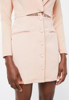 Missguided - Lace insert cut out blazer dress - peach