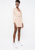 d7d1258ec4827 Lace insert cut out blazer dress - peach Missguided Occasion ...