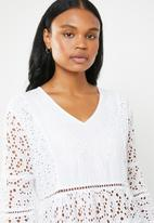 G Couture - Anglaise bell sleeve blouse  - white