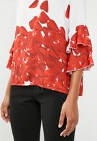 G Couture - Tiered frill sleeve blouse - red & white