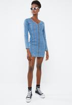 Missguided - Fitted long sleeve mini dress - blue