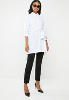 G Couture - Front tie long blouse - white