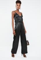 Missguided - Silky cargo cami jumpsuit - black