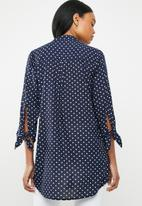 G Couture - Spot detail shirt - navy & white