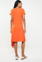 edit - Asymmetric hemline dress - orange