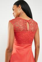 edit - Lace detail fit and flare dress - orange