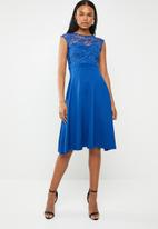 edit - Lace detail fit and flare dress - blue
