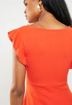 edit - Frill detail fit and flare dress - orange