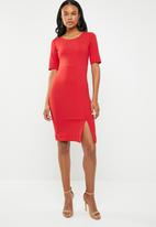 edit - Short sleeve pencil dress - red