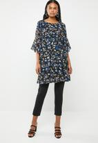 G Couture - Frill sleeve printed tunic with waist tie - blue