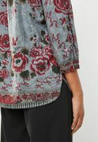 G Couture - Rose print border design blouse - multi