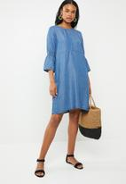 G Couture - Tencil dress with smocked sleeve - blue