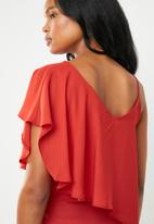 edit - Strappy overlay top - red