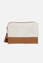 Typo - Luxe pencil case - white & tan