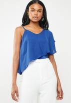 edit - Strappy overlay top - blue