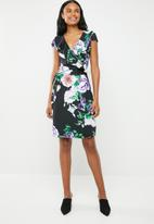 G Couture - Functional wrap dress with doubled frill - black