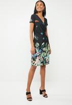 G Couture - Cap sleeve mock wrap dress - black