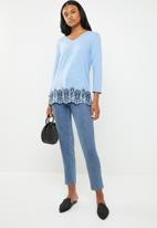 edit - 3/4 sleeve blouse - blue