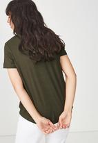Cotton On - Elise scoop neck rib tee - khaki green
