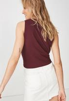 Cotton On - Tbar maeve tie front tank - burgundy