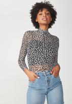Cotton On - Mesh long sleeve top - black & grey