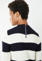 Superbalist - Zip back round neck - navy & cream