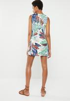 Revenge - All-over print dress - green/blue and coral