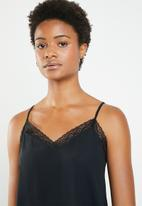 Superbalist - Cami with lace trim - black