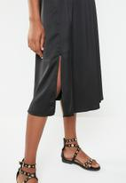 Superbalist - High neck midi dress with slit - black