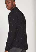 Cotton On - Geo 91 long sleeve shirt - black