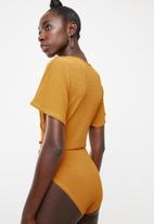 Superbalist - Knit twofer bodysuit - yellow