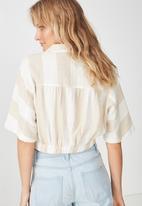 Cotton On - Cute resort shirt - beige & white
