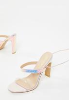 Public Desire - Candid perspex strap lace up heel - metallic