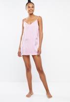 Missguided - Candy stripe satin deep v slip - pink
