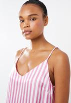 28ff87b33e3b5 Candy stripe satin deep v slip - pink Missguided Sleepwear ...