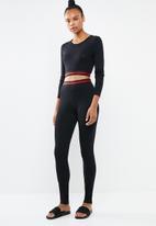 Missguided - Sports stripe lounge set - black