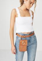 rubi - Luxe croc belt bag - tan