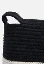 Sixth Floor - Cotton rope laundry basket - black & white
