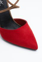 MHNY by Madison - Cardi ankle strap heels - red