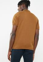 New Look - Rust block stripe polo tee - multi