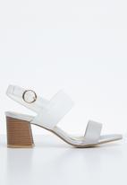 STYLE REPUBLIC - Slingback block heels - grey & white