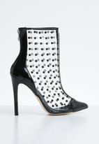 Public Desire - Spikey studded perspex ankle boot - black