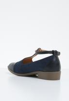 Jada - Fabric combo flat pointed pump - navy