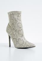 Public Desire - Revive point toe stiletto heel ankle boot - beige