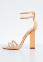 Public Desire - Brink perspex straps block heel - peach