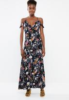 Revenge - Floral maxi with spaghetti strap dress - navy