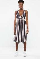 Vero Moda - Stripy sleeveless calf dress - navy & cream