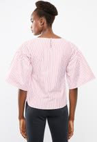 Superbalist - Poplin blouse with bow tie - red & white